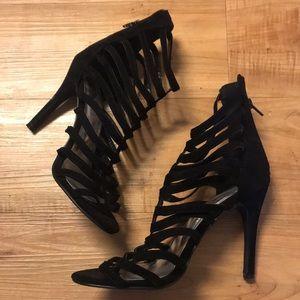 Black velvet straps heels